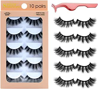 False Eyelashes 10 Pairs,3D Mink Handmade Reusable Long Thick Fluffy Faux Eyelashes for Makeup Eyelashes Extension,Contains Tweezers(G107)