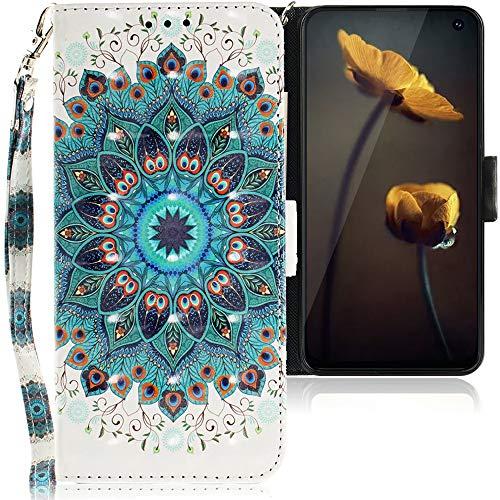 CLM-Tech Hülle kompatibel mit Samsung Galaxy S10e - Tasche aus Kunstleder - Klapphülle mit Ständer und Kartenfächern, Blume Ornament grün