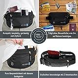 Flache Reise Bauchtasche mit RFID Schutz, Unauffälliger Geldgürtel mit Kopfhörereingang - enganliegend und wasserabweisend, Gürteltasche zum Sport, Reisen und Joggen, Secread Hüfttasche, (Schwarz) -