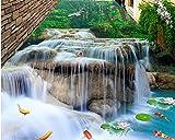 Kuamai 3D-Bodenbeläge Wasserfall Lotus Karpfen Fototapete für Größe Badezimmer Wohnzimmer Schlafzimmer Lobby 3D Bodenfliesen Wandbild 120X100CM