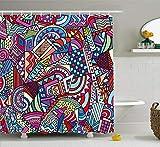Abakuhaus Duschvorhang, Abstraktes Farbvolle Aqua Darstellung Moderne Kunst Wellen Mehrfarbig Bunter Digital Druck, Blickdicht aus Stoff inkl. 12 Ringe für Das Badezimmer Waschbar, 175 X 200 cm