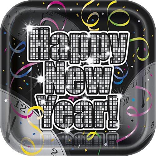 Tischdecke, Kunststoff, Motiv Countdown To New Years Dessert-Teller mehrfarbig