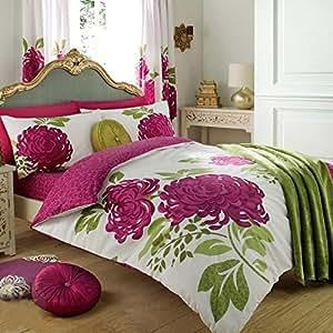 Just Contempo - Set copripiumino double-face con motivo floreale in tessuto misto di cotone ricamato copripiumino matrimoniale bianco & fucsia rosa (verde)