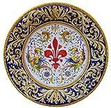 PIATTO con decorazione RAFFAELLESCA, con Giglio Fiorentino centrale e Fascia Ornamentale fondo Blu, in ceramica cm 42 di diametro, delle Ceramiche Artistiche Saltarelli di Montelupo Fiorentino.