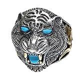 ForFox Anillo de Tigre Animal Joyería de Plata esterlina 925 Negro con Piedras para Hombres Ajustable