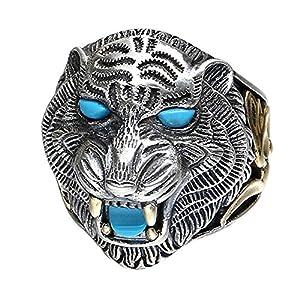 FORFOX Herren Vintage Schwarz 925 Sterling Silber Tier Tiger Offener Ring Schmuck mit Steinen Verstellbar