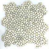 Fluss Kiesel Stein Mosaik Fliesen Pebble Weiss Mini