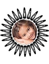 50 Packung Snap Haarclips Haarspangen für Kinder, Mädchen und Damen, 50 mm (Schwarz)