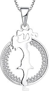YL Collana Mamma e Figlio Figlia Argento 925 Collana con pendente in zirconi cubici Regali per Madre Donne, 45-48 cm