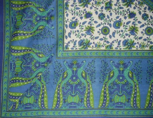 Blue Floral Tapestry (Floral Peacock Tapestry-Spread-Coverlet-Many Uses-Blue by India Arts)