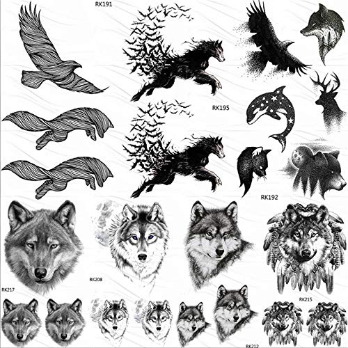 Lihaohao aquila uccello lupo adesivi tatuaggi temporanei delfino alce disegnare tatuaggio finto piccolo animale tatuaggio personalizzato per le donne uomini body art 10x6 cm 7 pz