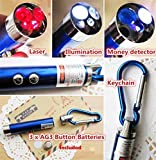 #4: KABEER ART 3 in 1 Portable Emergency Key Chain Has Laser Pointer, Led Torch (Flash Light) & UV Light (Color May Vary)