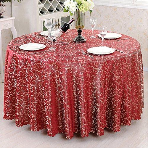 Runde / quadratische Tischdecke für Hochzeit und Bankett, Hotel oder Home Fine Dining Verwendung Blume Hook Table Fabric Cover Tuch , burgundy flower , round 260cm
