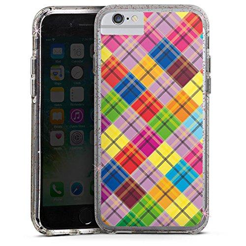 Apple iPhone X Bumper Hülle Bumper Case Glitzer Hülle Karo Bunt Colourful Bumper Case Glitzer rose gold