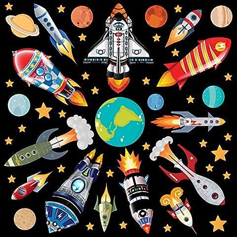 GET STICKING DÉCOR® Weltraum, Weltraumrakete Wandtattoo, Wandsticker Kollektion, Rock.1, Glänzend Herausnehmbar Vinyl, Multi Farbe. (XXL)