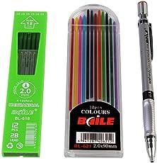 Kraftmasters Set Of Mechanical Lead Pencil + 12 Black Leads + 12 Color Leads