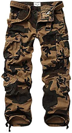MUST WAY Men's Work Trousers Camouflage Army Combat Trousers Cotton Work Wear Cargo Trousers with 8 Pockets