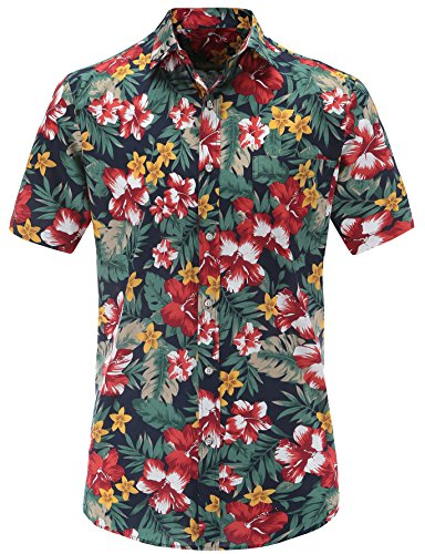 Jeetoo -  camicia casual - classico - manica corta - uomo marine-fleurs xxxl