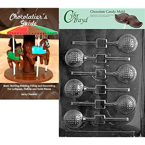 Cybrtrayd Golf Ball Lolly Sports Chocolate Candy Mold with Chocolatier's Guide Instructions Book Manual by