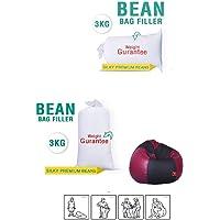 MAHARAJA BEANS bag refill Silky A-Grade Filler, 3 Kg , White