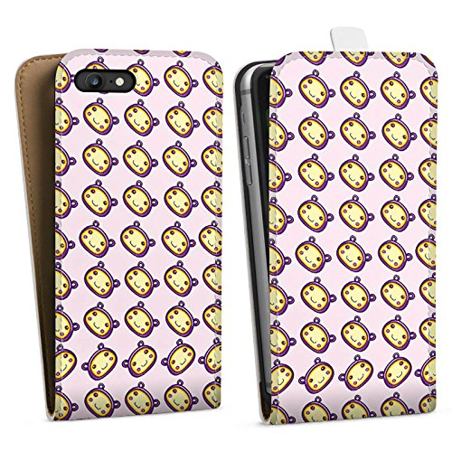 Apple iPhone X Silikon Hülle Case Schutzhülle Muster Kawaii Manga Downflip Tasche weiß