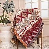 Vintage Ethnische Geometrische Muster Sofa Kissen Sofa Handtuch Freizeit Decke Volldeckung Baumwolle und Leinen Kunst Rutschfeste,A1,130 * 180Cm