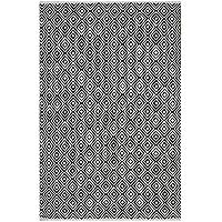 Fab Hab - Alfombra de Algodón Reciclado - Veria en Negro (150 cm x 240