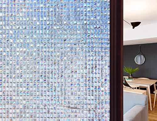 HIDBEA 3D-Dekorative Fensterfolie, klebstofffrei, hitzebeständig, UV-Schutz, statische Haftung, abnehmbare Vinyl-Glas-Tönung für Zuhause und Büro, 90 x 4 m, 3D-03, 09-3D03