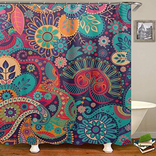 QCWN Mandala Ethnic Decor Duschvorhang Retro geometrische Runde Muster Floral Print Design Badezimmer Set mit Haken, Polyester, 3, 65