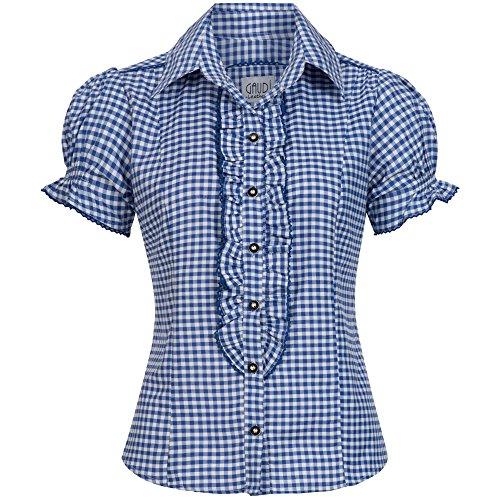 Trachten Bluse - Trachtenbluse Ronda blau weiß kariert Größe