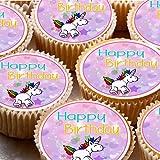 24Cupcake Fée pour gâteaux 4cm sur glaçage–Joyeux anniversaire ND1Licorne
