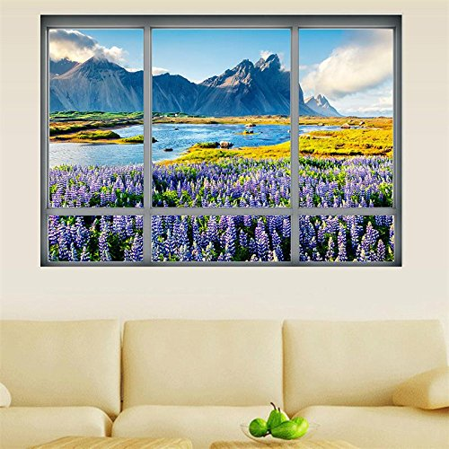 Lavendel Blumen 3D Gefälschte Fenster Wandaufkleber Mountain River Aufkleber Sonnenaufgang Vinyl Kunst Decals Wandbild DIY Schlafzimmer Dekor Ansicht Landschaft