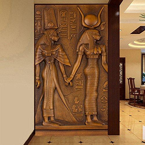 300cmX250cm Päischen Stil Vintage ägyptischer König Königin Skulptur 3D-geprägte Foto Wandbild Tapeten Hotel Halle Wohnzimmer Eingang Wallpaper -