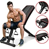 YoleoStore Utility Adjustable Weight Bench -2020 Version -for Full Body Workout, Foldable Flat/Incline/Decline FID Bench Press for Home Gym