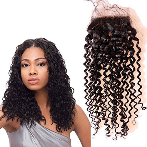 Eseewigs Haute Qualité Swiss Dentelle Fermeture brésilienne cheveux bouclés Fermetures 4x4 pouces couleur naturelle