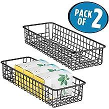 mDesign Set da 2 organizer cucina – Cestino metallico versatile – Portaoggetti multiuso in filo metallico ideale per la dispensa o per il bagno – nero opaco
