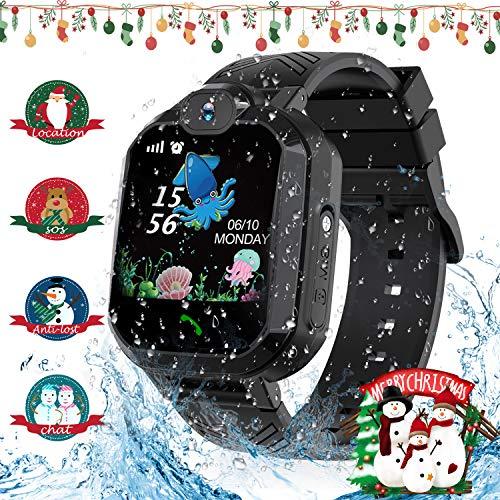 Jaybest Smartwatch Niños - Reloj Inteligente para Niños con rastreador de LBS con Linterna de Llamada SOS cámara Pantalla táctil Juego Smartwatch Childrens Navidad Gift (Negro)