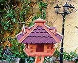XXL Vogelhaus, Gartendeko , große Größen, auch mit vogelhausständer und Silo, ACHTUNG kein Bausatz von amazon oder zum Bemalen groß aus Holz, mit ROT dunkelrot /ohne Ständer ROT dunkelrote Bitumenschindel