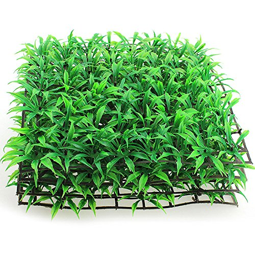 EMVANV 25 x 25 cm Fake grün Gras Kunststoff Aquarium Ornament Pflanze Aquarium Rasen Decor