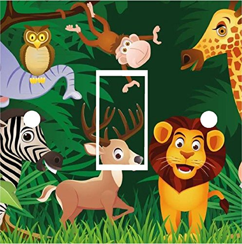 Jungle 1 Safari Animals Zoo Switch Cover Wrap Skin UK Single Switch Sticker Vinyl Decal