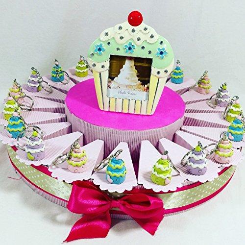 Sindy bomboniere torta 20 fette con 20 cupcake portachiavi con portafoto centrale con confetti torta portaconfetti già decorata con nastro