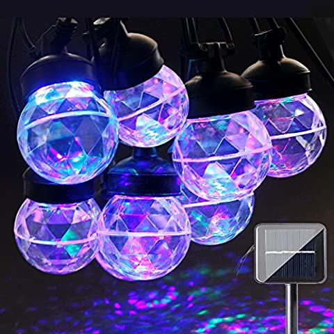 ACRATO Projektionslampe LED Projektor Weihnachten Lampe Solar Lichterkette mit 8 LED Kugellampe Wasserdicht für Outdoor Party Innen Haus Dekoration Hochzeit Weihnachten usw. Bunt