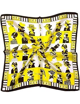 Bees Knees Fashion - Bufanda - Sombreros Blancos Negros Impresos Pequeños Bufanda Cuadrada De Seda Gruesa