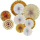 Misscrafts - Pancarta de papel para decoración de fiestas, diseño de flores, color dorado, 8 unidades