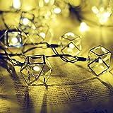 Metall Lichterkette, EONANT 6m 30LED Solar Geometrische Lichter Metall Laterne Lichterketten 8 Modi Wasserdicht Für Haus Indoor Garten Rasen Terrasse Bäume Hochzeiten (Warmweiß)
