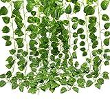 GoFriend Künstliche Efeu-Girlande mit 12 Strängen (25 m), Hängepflanze mit künstlichen grünen Blättern, für Hochzeitsfeste, als Verzierung für Gartenmauern