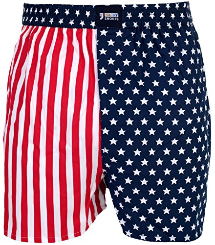 Happy Shorts Webboxer Herren Boxer Motiv Boxershorts Farbwahl, Grösse:XL - 7-54, Präzise Farbe:USA - Colours