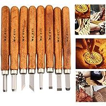 MAIKEHIGH Strumenti Xilografia mano Woodcraft scalpelli, intaglio a mano per la scultura fai da te maniglia Cera Carving Ceramiche 8 Pezzi
