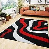 VIMODA Wohnzimmer Teppich Rot Schwarz Weiß Wellen Muster Friseé Teppiche Flauschig Weich Konturenschnitt Geprüft von 120x170 cm