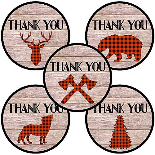 Adorebynat Party Decorations - EU Lumberjack-Party danken Ihnen Aufkleber-Aufkleber - karierte Hochzeit Geburtstag Babypartybevorzugungen - Set 50 (Karten Baby-dusche Ihnen Danken)
